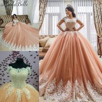 Wholesale turkey lighting - New Arrival 2017 Formal Party Quinceanera Dresses Elegant Ball Gowns Off Shoulders Exquisite Lace Appliqued Long Prom Arabic Turkey Brazil