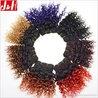 Wholesale black hair perm curly - 8A Ombre Afro curl Human Hair weave bundles Kinky Curly inch short wefts B J Ombre B B B RED B PURPLE g Pc