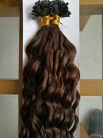 Wholesale Dark Brown Extensions Fusion Tip - New Fashion Fusion Hair Extensions F-tip 1g s Keratin Flat Tip Hair Extensions Human Brazilian Deep Curly Virgin Hair 100g