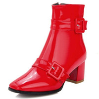 Wholesale Boots Material - SJJH Ankle boots with square heel and square toe waterproof material footwear for fashion women PP200