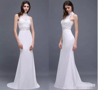 Wholesale Top Designers Mermaid Dresses - New White Lace Mermaid Prom Dresses 2017 New High Neck Lace Top Chiffon Long Evening Dresses Formal Party Gowns Cheap Under 50