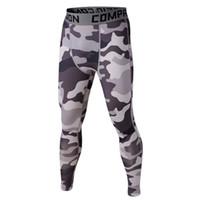 Wholesale Mens Camo Pants Fashion - Wholesale- 11 Colors Mens Fitness LegginsTrousers Tights pantalones chandal hombre Camo Compression Pants Leggings Base Layer