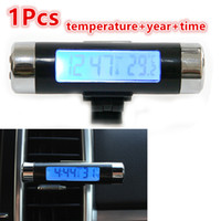 Wholesale Air Conditioning Leads - Wholesale- Hot Car Auto Digital Blue LED Vehicle Electronic Time Clock Thermometer With Clip For Car Air Conditioning