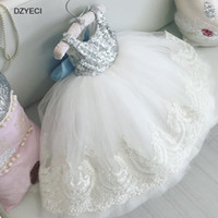 Wholesale sequin clothing for girls - Fashion Sequins Bow Lace Dresses For Baby Girl Tulle Costume Clothes Floral Children Backless Party Wedding Princess Frock Kid Costume