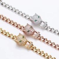 leopardo rosa ouro venda por atacado-Atacado ou perfurar uma cabeça de leopardo pulseira grossa com ms han edição 18 k ouro rosa com diamantes BaoTou pulseira de espessura