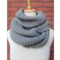 Wholesale long winter warm scarf knit - Wholesale-High Quality FreeShipping Hot Women Lady Winter Warm Infinity 2 Circle Cable Knit Cowl Neck Long Scarf Shawl For Women Q1
