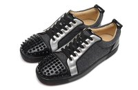 Compra Calzature In Pelle Nera-Luxury Brand Red Bottom Sneakers Lows Black Silver Suede with Spikes Casual Shoes Velvet Vernice in pelle Nail Low Scarpe da ginnastica Calzature Scarpe