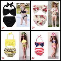 Wholesale Wholesale Priced Bikinis - Cute Baby Bikini Big Bowknot Stripe 2 Pieces Skirt Swimwear Sets INS hot sell baby girls bath 11 styles factory price girl's beachwear