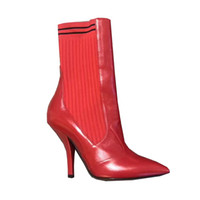 2017 Brand Design Ankle Boots Mulheres Pointed Toe Vermelho Real Couro Knit Patchwork High Heel Shoes Mulher Moda Short Boots