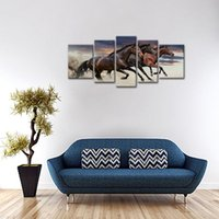 Wholesale Painted Wooden Horses - 5 Panels Canvas Paintings Three Fine Horses Running Animal Picture Prints with Wooden Frame For Home Decoration Ready to Hang