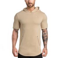 Wholesale Men Slim Work Shirts - Men's Short Sleeve Hoodie Skinny Plain Gym Bodybuilding Work-Out Sweater Shirt Strong Men Muscle Body Sweatshirt Pullover FYG0489