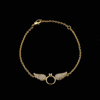 Wholesale Infinity Doves - 316L stainless steel Bracelet Imitation Infinity Retro Angel Wings with diamond Jewelry Dove Peace for Women Lady Beauty Perfect Gift PS528
