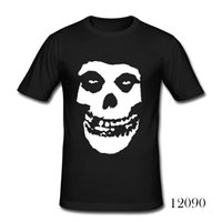 Wholesale Plus Size Rock Roll - Wholesale- New Fashion Rock And Roll Date Brain Misfits Skull T Shirts Men Casual Short Sleeve Printed T-shirts Plus Size Camisas