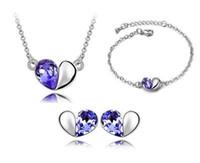 Wholesale Love Deeper - Bracelets Earrings Necklaces Fashion Jewelry Austria Zircon Crystal Necklace+Earrings+Bracelet Love Heart Jewelry Set Diamond Women Jewellry