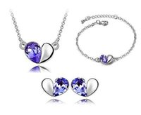 Wholesale Zircon Necklace Sets - Bracelets Earrings Necklaces Fashion Jewelry Austria Zircon Crystal Necklace+Earrings+Bracelet Love Heart Jewelry Set Diamond Women Jewellry