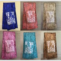 Wholesale Organza Wedding Embroidered Lace Fabric - TS-11 Latest sequins organza lace,beatifull Nigerian wedding bridal lace trimmings for sewing