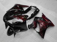 zx14 verkleidung rot großhandel-Karosserien Zx14 Zx-14r 2010 ABS Verkleidungen ZZR 1400 06 07 Schwarz Rot Flame Body Kits ZZ-R1400 10 11 2006 - 2011