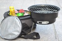 Wholesale Portable Charcoal BBQ Grill Couple Family Party Outdoor Camping Barbecue Roasting Brazier Cooking Tools With Shoulder Cooler Bag