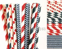 Wholesale Navy Striped Straws - Wholesale-100pcs Patriotic Drinking Paper Straws Mix,Navy Striped and Chevron,Red Stripe and Polka Dot,4th of July Independence Day Party