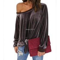Wholesale Bow Neck Blouse Xl - Sexy Off Shoulder Blouse Shirt 2017 Spring Autumn Long Sleeve Solid Color Tunic Shirt Velvet Tops Blusas Camisas Mujer Plus Size