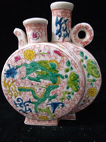 Barato Vaso De Dragão De Porcelana-Antique Collection Folk Art Chinese Famille Rose Porcelana Hand-painting Dragon Vase C013