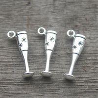 Wholesale charms wine glasses resale online - 25pcs Goblet Charms Antique Tibetan silver D Wine Glass Charm pendants x9mm