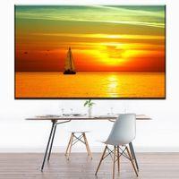 Wholesale beautiful sea painting resale online - ZZ1249 beautiful canvas pictures prints art sailboat sea sunrise landscape canvas pictures oil art painting for livingroom wall