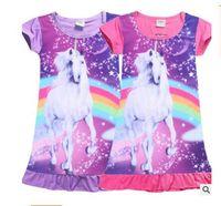 Wholesale Princess Pajamas - Unicorn Girls Dress Moana Trolls Clothing Summer Dresses Girls Baby Pajamas Costume Princess Nightgown Infantis Clothes Free Shipping
