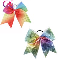 cheer bow sports hair bows - 10 Rainbow Cheer Bow Sequin Cheer Bow With Ponytail Holder Sparkle Cheerleader Sports Elastic Hair Ties