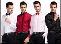Wholesale Groom Belts - 4 Color (White Pink Wine Red Black)Short Long Sleeves Wedding Prom Dinner Groom Shirts Wear Bridegroom Men Shirt 2017