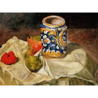 jar pinturas venda por atacado-Natureza morta com jarro de barro italiano por Paul Cezanne paisagens Pinturas para decoração da sala de estar pintados à mão
