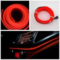 12v El Light Red Pas Cher-2M RED EL-Wire 12V Car Interior Decor Fluorescent Neon Strip Cold Light Tape