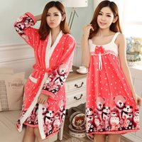 Wholesale Spa Dressing Gown - Wholesale- 2016 New Winter Pajamas Flannel 8 Colors Night Gown Spa Bathrobe And Dress Bath Robe Women Long Sleeve Warm Soft Robe Sets