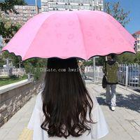 Wholesale Wholesale Black Umbrella - 2017 selling creative black rubber sun shade three folding umbrella gift sunny umbrella umbrella wholesale DHL free shipping