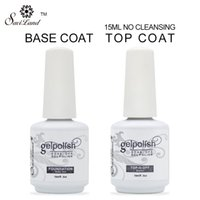 Wholesale Nails Beige - Wholesale-2Pcs Brand Saviland 15ml gelpolish gel nail polish soak off nail glue base coat + top coat Set for nails with UV lamp nail gel