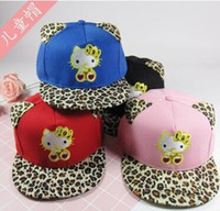 Wholesale Kids Leopard Cap - Spring Autumn New Children Fashion Leopard Cartoon Ball Hats Baby Boy Girl Cotton Sun Caps Ear Muff For 3-9 Years Kids J0110-04