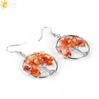 Wholesale Loose Drop Crystal - CSJA Tree of Life Women Drop Earrings Round Natural Healing Crystal Chip Real Gemstone Loose Beads Dangle Hook Earring Jewelry Gift E514 B