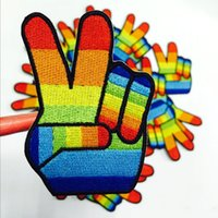 Wholesale Store Promotions - OK Sign Hippy Hippie Rainbow Fancy Dress Peace Applique Iron On Patches Badges The store promotion products