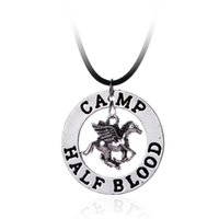 Wholesale Halloween Blood - Camp Half Blood necklace horse pendant vintage jewelry leather rope women Punk Jewelry Pendant Necklace