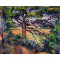 grandes pinturas de paisagem venda por atacado-Paul Cezanne Pinturas Grande Pinho e Terra Vermelha abstratas paisagens arte lona pintados à mão decoração da parede