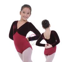 Wholesale Gymnastics Leotards For Girls - Free shipping Child ballet leotard C2018 red long sleeve child leotard wholesale ballet gymnastic leotards for girls