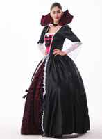 Wholesale Games Stages - Vampire Cosplay Fashion Stage Performance Clothing Masquerade Party Queen Dress Ghost Bride Uniform Collar Pattern Game Costumes