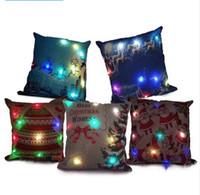 Wholesale Light Up Pillows - Christmas LED Light Linen Pillow Case Santa Claus Deer Light Up Pillowcase 45*45cm Cushion Covers Car Sofa Home Christmas Decoration KKA3042