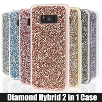 Wholesale Silver Diamond Phone Cases - for iPhone 5 6 6s 7 7plus Samsung Galaxy s8 s8 plus Case Glitter Hybrid 2 in 1 rhinestone cases Bling bling Luxury Diamond Phone Cover