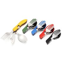 Wholesale service camps - 3 in 1 Folding Spoon Fork Knife Dinner Service Outdoor Camping Picnic Tableware Creative Stainless Steel Cutlery