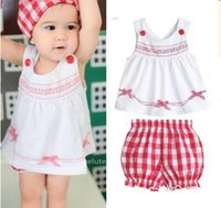 Wholesale Scarves Girls Baby Bow - Baby Clothes 2017 Summer 3pcs Set Kids Tollders Girls Costume Sleeveless Bow Tops+ Plaid Shorts+Scarf Outfits Ins Clothes 1-3Y 499