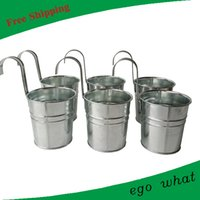 ingrosso vasi di zinco-D9.5XH10CM colore argento metallo pianta vaso da fiori gancio fioriera appeso vasca da bagno zinco vaso di fiori