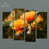 Barato Pinturas Modernas Para Barato-New Modern Paintings 4 Painel Wall Canvas Flower Painting Modular Pictures on the Wall Art Prints for Living Room Wholesale