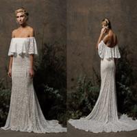 Wholesale Custom Lace Trim - Off Shoulder Spring summer Bohemian Wedding Dress Exposed Shoulders Lace Trimming Mermaid Bridal Dress vestido festa