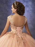 Wholesale Black Ball Gown Sparkles - Sparkling Tulle Quinceanera Dresses 2018 Mary's with Detachable Straps and Basque Waist Peach Sweet 16 Dress Lace Up Back